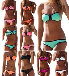 Wholesale 2015 Newest Super Sexy Swimsuit Zipper Top and Bottom Swimwear Neoprene Bikini Set Styles