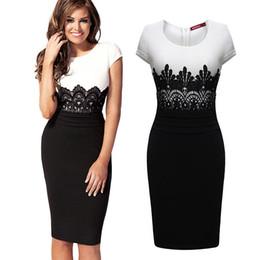 online shopping New hot sellers Vestidos Star Bag patchwork Lace women dress O neck short sleeve knee length female Midi Bodycon Dress