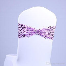Wholesale High Qaulity Wedding Chair Cover Sashes Banquet Decoration Elastic Bands with Sequins cBow Celebration Party Accessories