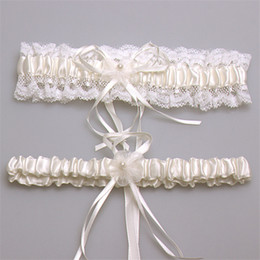 Wholesale 2015 Pink Purple Ivory Blue Bridal Garters Lace Edge With Pearl Bow Bridal Accessories In Stock