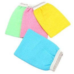 Wholesale candy color two sided bathroom skin cleaning cotton glove body exfoliating bath gloves