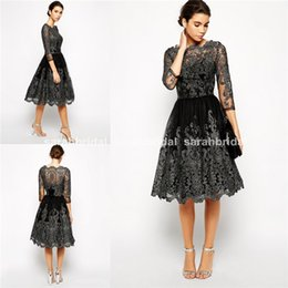 Wholesale 2015 Short High Neck Cocktail Skater Dresses with Sheer Lace Long Sleeve Knee Length Skirt Cheap Holiday Formal Party Gowns
