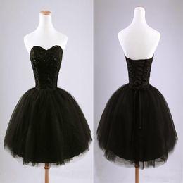 Wholesale Sexy Sequins Querida baratos Vestidos Homecoming grânulos pretos Tulle vestido de baile do partido vestidos curtos Mini vestidos de coquetel
