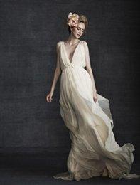 Wholesale Vintage Greek Goddess Wedding Dress Flowing Deep V Neck with Sash Beautiful Beach Bridal Gowns Retro Backless Grecian Wedding Dresses
