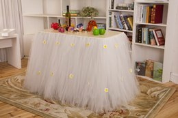 Wholesale 2015 New Wedding Party Tulle Tutu Table Skirt with Flowers Wedding Reception Table Skirt Baby Shower Birthday Party Table Decoration