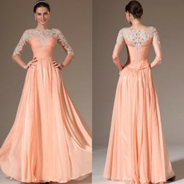 Wholesale Zuhair Murad Long Sleeves Evening Dresses A Line Crew Neckline Floor Length Chiffon Pageant Party Formal Prom Dress Cheap