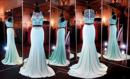 Wholesale 2015 Aqua Crop Top Prom Dress Mermaid Beaded Crystals Rhinestones Satin Sexy Pageant Dresses with Two Piece High Beaded Neckline Zipper Back
