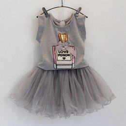 Wholesale 2015 summer children kids girl skirt set cotton T shirt TUTU skirt piece suit clothing clothes set outfit for girl T