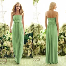 Wholesale Cheap Long Strapless Floor Length Chiffon Lime Green Bridesmaid Dresses Maid of Honor Dresses LS092189