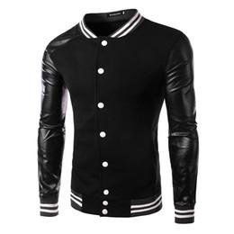 Wholesale 2015 nouvelles arrivent outwear veste mode pour hommes manteau pull Baseball Hoodies Automne coréen MASCULINE Splice pour hommes noirs