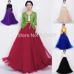 Wholesale Vintage Bowknot Empire Waist Chiffon Pleated Tiered Skirt Long Maxi Skirt Gown