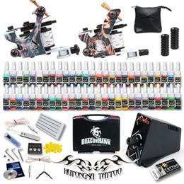 Wholesale Tattoo Kit Machine Guns Color Inks Needles Power Supply Set Tips
