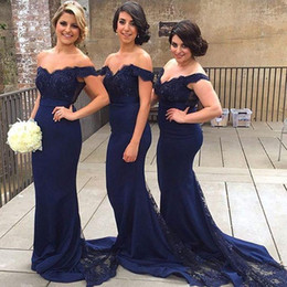 Wholesale Navy Blue Mermaid Long Bridesmaid Dresses With Lace Applique Bead Off Shoulder Sheer Illusion Back Sexy Evening Prom Gowns New Cheap
