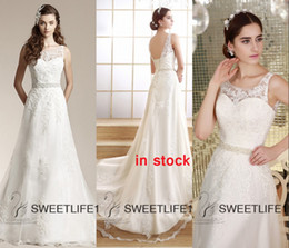 Wholesale Ivory IN STOCK Lace Wedding Gowns Cheap Sheer Neck Backless A Line Wedding Dress Applique Beaded Sash Court Train Church Bridal Gowns