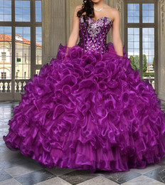Wholesale In Stock Sweetheart Quinceanera Dresses Ball Gown Beaded Sequins Ruffles Purple Organza Quinceanera Gowns Prom Dresses High Quality