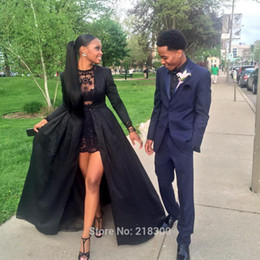 Wholesale 2016 Fashion Arabic Black Long Sleeves O neck A line Prom Dresses Vestidos Long Evening dresses Cape Jacket Party Gowns BO8614