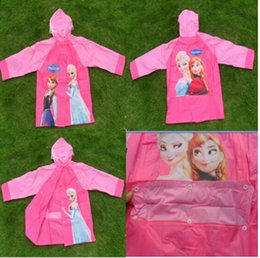 Wholesale Frozen Raincoat Children Rain Cape Cartoon Pattern Elsa Anna Design Kids Childs PVC Hooded Rain Coat With School Bag Packing Rainwear T