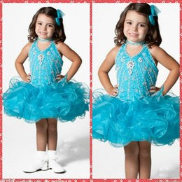 Wholesale Cute Ball Gown Beaded Crystal Toddler Pageant Party Dresses Short Mini Ruffles Wedding Flower Girls Dresses High Quality For Little Girls