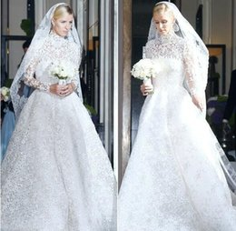 Wholesale Nicky hilton Valentino Wedding dress Long Sleeve High Neck Zipper Back Appliques Sheer Ball Gown Organza Bridal Gowns
