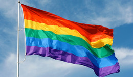 Discount gay freedom day parade banner New Rainbow Flag Gay Lesbian Pride Peace Pennants Parade Demonstrate