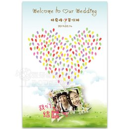 Wholesale 2015 wedding supplies people quot In one hundred quot add fingerprint check in wedding photos her wedding sign in tree sign signature