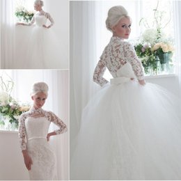 Wholesale Vintage Inspired Full Lace Column Wedding Dresses with Long Sleeves High Neck Bridal Gowns with Detachable Train Skirt Princess Ball Gowns