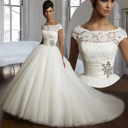 Wholesale 2015 Couture Ball Gown Wedding Dresses Elegant Cap Sleeves Wedding Gowns Beaded Sequins Lace Organza Plus Size Bridal Gowns Custom Made