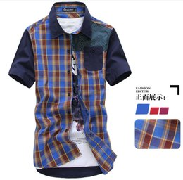 Wholesale the new summer grid color matching short sleeve shirt male leisure cultivate one s morality shirt