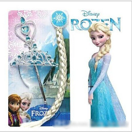 Wholesale 2014 hot sales Princess Hair accessories Crown wig magic wand FROZEN ANNA ELSA free bb clip