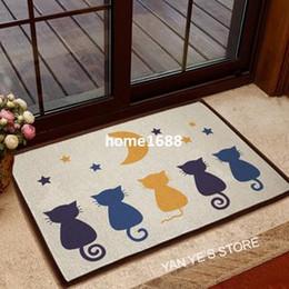 Cotton linen Floor non-slip ground mat carpet for living room doormat baby  bathroom door mat area rugs cute cat design kids room