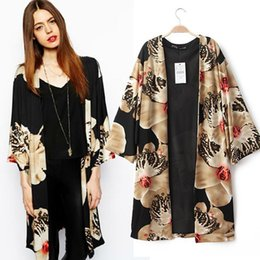 Wholesale Women Chiffion Loose Kimono Cardigans Flower Print Stylish Chiffon Cape Poncho Outwear