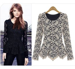 Elegant&Sexy Women Long Sleeve Lace Peplum Jumper Top Blouse Hot Clothes Black Navy Beige 3 Colors