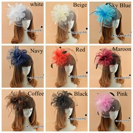 Wholesale 2015 Bridal Hat Hair Jewelry Women Girl Lady Black Party Cocktail Prom Bridal Wedding Feather Fascinator Mini Hat Headwear Colors