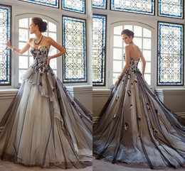 Wholesale 2016 Luxury Black Ball Gown Wedding Dresses Appliques Embroidery Corset and Tulle Bridal Fancy Gowns Customized Vestidos Hot Wave Details