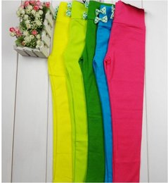 Wholesale Top On Top new design girl s cotton leggings candy color bow solid yellow green blue hot pink legging