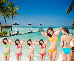 Wholesale Sexy Unique Mini Beach Women Bikini Swimwear Straps Bathing Suits Solid Color Bandage Swimwear Special Occasion Swimming Clothing