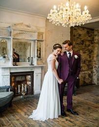 Wholesale Vintage Purple Mens Suits Notched Lapel Tuxedos For Men Wedding Suits For Men Two Button Grooms Suits Jacket Pants Vest