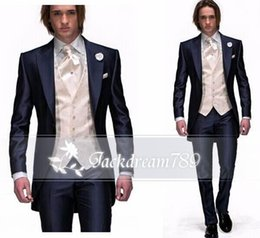 Wholesale Hot sale custom made groom tuxedos Shawl collar Fashion Men s long coat groom suit for men formal party prom wedding suits