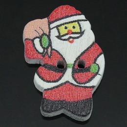 Wholesale 100 PC Bois coudre les boutons trous le Père Noël Rouge mm x mm plus de la décoration de fête gratuit express