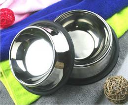 5pcs Pet Shop aço inoxidável Bacia do curso do cão Cat Food água bacias de alimentação Dish antiderrapante Em estoque