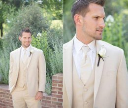 Wholesale 2014 New Slim Fit Groom Tuxedos Beige Two Buttons Side Slit Best Man Suit Wedding Groomsman Men Suits Bridegroom Jacket Pants Tie Vest LX
