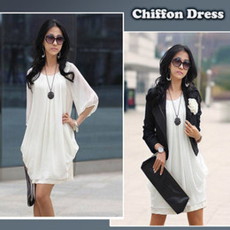 Wholesale New Spring Autumn Fashion Women s Lady Mini Dress Chiffon Spring Plus Size Women Clothing Office Dresses Roupas Femininas XL G0134