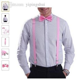 Wholesale set Unisex s Suspender Bow tie Sets color wedding party quot Elastic Suspender with Adjustable Slides and