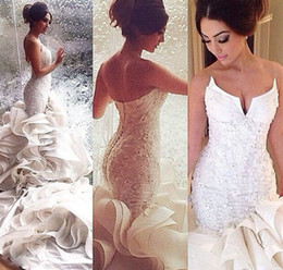 Wholesale 2015 Hot Sale Sexy Mermaid Wedding Dresses Strapless Covered Button Organza Chapel Train Lace Applique Bridal Gowns Custom Made Plus Size