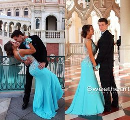 Wholesale Hunter Blue Crystals formal Sheath Evening Celebrity Dresses sexy open back Spaghetti straps sequins beaded Prom Party Gowns New