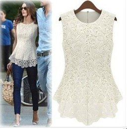 Wholesale European Women Lace Black Beige Tank Tops Round Neck Lace Shirts Blouses Slim Design Casual Basic Clothing B3547