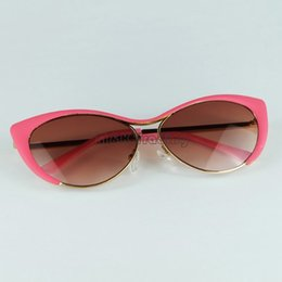 2016 new luxury metal eyeglasses frame pink cat eye sunglasses for women uv400 fashion sun glasses frame retail free shipment