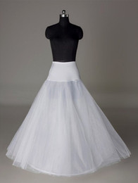 Wholesale In Stock Petticoats Cheap Crinoline White A Line Bridal Underskirt Slip No Hoops Full Length Petticoat for Evening Prom Wedding Dress