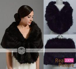 Wholesale Fashion Cheap Black Shrug Faux Fur Bridal Wrap Cape Jacket For Winter Wedding Free Size Accessories Bolero Shawl Bride Bridesmaid