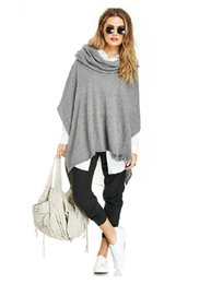 Wholesale 2015 Spring Bat Sleeve Knit Poncho Cowl Neck Pullover Design Simple Slit Poncho New Hot Sale